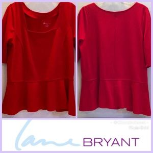 LANE BRYANT Rayon Spandex RED PEPLUM SS TOP 14/16